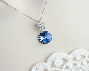 Blue Sapphire Starfish Necklace,Bridal Necklace,Sapphire Necklace,Bridesmaid Necklace,Swarovski Crystal and Cubic Zirconia Starfish Necklace