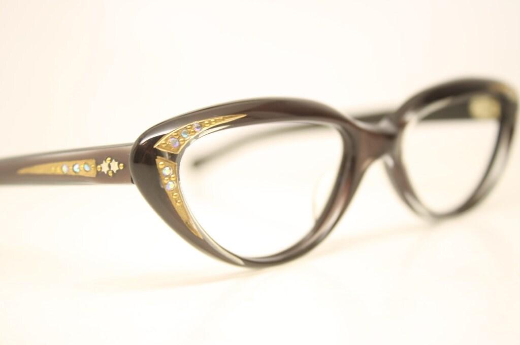Cat Eye Rhinestone Eyeglass Frames : Small Rhinestone Cat Eye Glasses Brown Vintage Cateye Frames