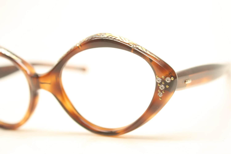Cat Eye Rhinestone Eyeglass Frames : NOS Tortoise Rhinestone Cat Eye Glasses Cateye Eyeglasses NOS