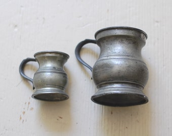 ANTIQUE English Pewter Measures - Set of 2 - Gill and 1/4 Gill Pewter Tankard Cups