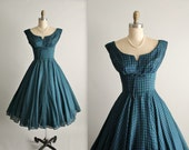 50's Dress // Vintage 1950's Plaid Cotton Shelf Bust Blue Green Checked  Full Garden Party Dress S