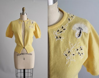 50's Cashmere Cardigan // Vintage 1950's Beaded Dalton Cashmere Floral Cardigan Sweater XS