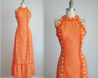 70's Maxi Dress // Vintage 1970's Orange Pintucked Cotton Lace Floral Mexican Maxi Dress M