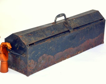 Extra-Long Antique Rustic Steel Toolbox Chest: 3ft Long Black Metal Industrial Storage Organizer Trunk for Hardware / Tools / Art Supplies
