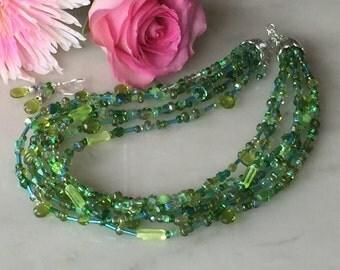 Grass green necklace earrings set, chunky, multistrand, apple green, lime green, Czech glass, bright, multi-strand, handmade, beaded