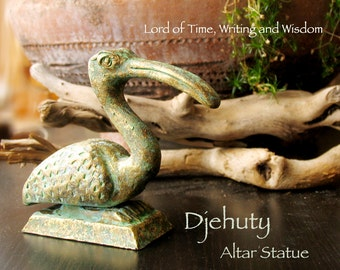 Djehuty - Full Ibis Bird - Egyptian Deity of Time, Writing and Wisdom - Handcrafted Kemetic Altar Statue with Brass Patina Finish