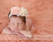 Ivory and Blush Pink Newborn Headband - Ivory Lace Baby Headband - Cream Blush Baby Headband - Blush Flower Girl Headband