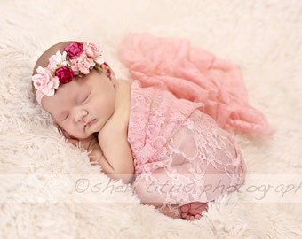 Pink Lace Newborn Wrap with Matching Flower Headband - Pink Flower Crown - Lace Wrap Photo Prop - Newborn Wrap and Headband Set - Pink Lace
