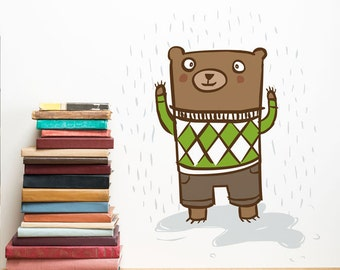 Square Bear Nursery Wall Decal, Kids Wall Sticker, Kids wall Art, Removable & Repositionable