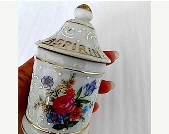 Antique Porcelain Aspirin Jar -White Floral Hand Painted!