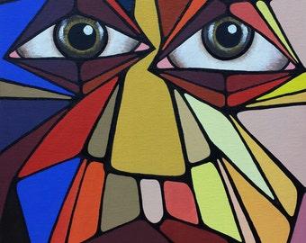 FACES-1, Valeria Barnhill's original acrylic painting, 11x14