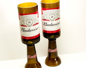 Beer Bottle Wine Glasses Budweiser Goblets Candle Holders Set Of 2