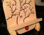 Cookbook stand, recipe holder, tablet stand, cookbook holder, ipad stand, book prop, book rest, wooden book stand, apple blossom