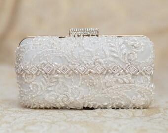 Ivory Bridal Clutch - Beaded Clutch - Bridal Purse - Bridal Clutch - Wedding Accessories- Vintage Bride