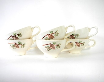 Vintage Set of Six Pine Cone Tea/Coffee Cups