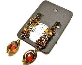 Crystal Topaz Earrings Handmade Repurposed Jewelry