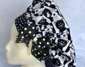Chef's Hat, Surgical Cap, Black and White Puppy Print , Paw Print Headband, Adustable, Colorful, Washable