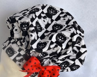 Chef's Hat, Surgical Cap, Black and White Puppy Print, Adustable, Colorful, Washable