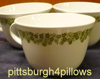 1/2 Price - 3 - Corelle - Spring Blossom AKA Crazy Daisy - Living Ware - Coffee Cups - D Handle - Price Is For All - EUC