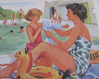 "Original Vintage School Classroom Poster Print - Circa 1965 - Swimming - 9"" x 12"""