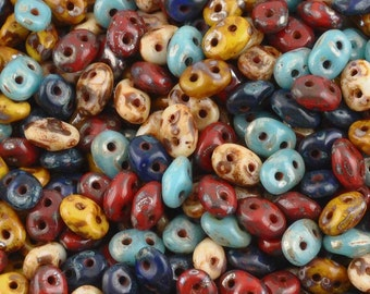 Seed Beads-2.5x5mm Superduo-009 Picasso Bead Mix-7 Grams