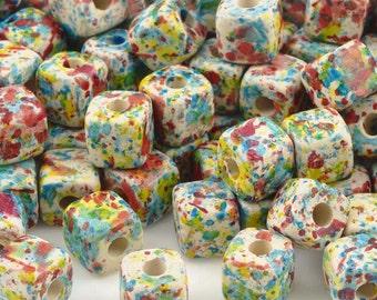 Ceramic Beads-7mm Cube-Candy Splash-Quantity 20
