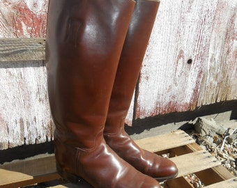 Vintage Knee high Equestrian Riding Boots brown made in England Size 8