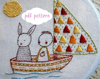 Sail Away hand embroidery pattern pdf