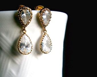 Bridal Crystal Earrings In Gold Settings With Cubic Zirconia