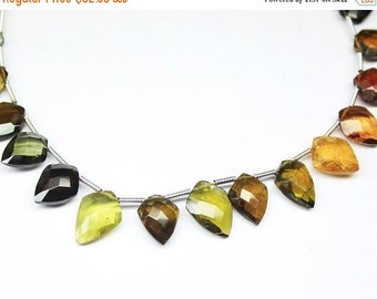 VALENTINE SALE 55% Watermelon Tourmaline Faceted Fancy Shield Drops, 8 inches, 8-10mm, SKU4780