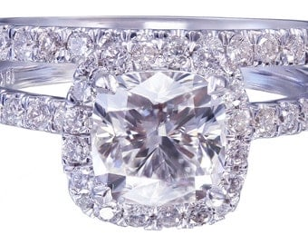 18k White Gold Cushion Cut Diamond Engagement Ring And Band 2.30ct H-VS2 EGL USA