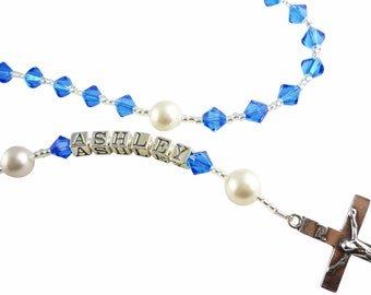 Sapphire Birthstone or any color swarovski crystal Name Rosary /Personalized Rosary/ Baptism Christening First Communion Baby Godparent
