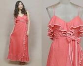 70s Maxi Dress Red White Swiss Dot Ruffle 1970s Sundress Valentine's Spaghetti Strap Polka Dot Hippie Empire Waist / Size S Small