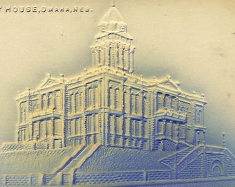 Bas Relief Vintage Postcard Courthouse Omaha Nebraska – Neat Shades of Blue Embossed Postcard 1907