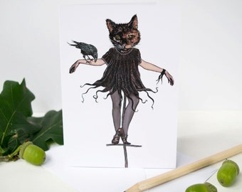 Scarecrow tortoiseshell cat and crow blank greeting note card