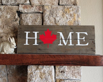 Canada HOME, Reclaimed Wood Sign, Maple Leaf, handmade, Hand-painted, red leaf, re-purposed, housewarming, gift, decor, wall art, Canadian