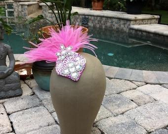 Swarovski Crystal Pink Feather Hairpiece Haircomb
