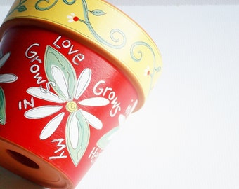 "Hand Painted Pot 4 InchTerracotta Pot-"" Love Grows""- Ready to Ship"