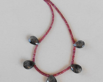 Genuine red Winza Sapphire bead necklace with five tourmalated Quartz briolette pendant 129 CTS  / silver 925 clasp / 18 inches long