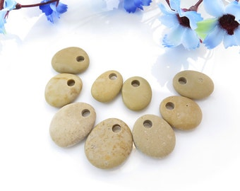 Top Drilled Beach Stones 9 pcs Jewelry, Eco Friendly Beads, Beach Pebbles for Crafts DIY, Jewelry Supplies Set