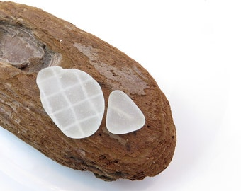 Undrilled White Beach Glass For Wrapping, Jewelry Design, Medium Sea Glass with Wire Inside Smooth Surftumbled