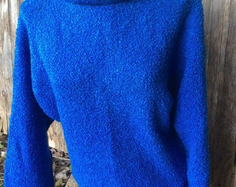 Batwing Royal Blue Boucle Cowl Top