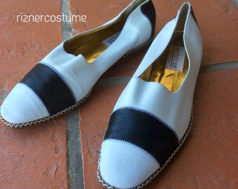 80's navy leather Espadrille Wedges