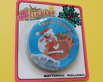 Vintage Blinkies Light Up Merry Christmas Button Mint in the Original Package