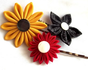 Red Yellow and Black Flower Bobby Pins Fabric Flowers Unique Hair Pins