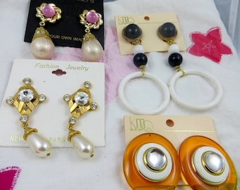 NOS Vintage Earring Lot Clip on Bold and Big Fancy and Fun Four Pairs of Earrings Long dangly