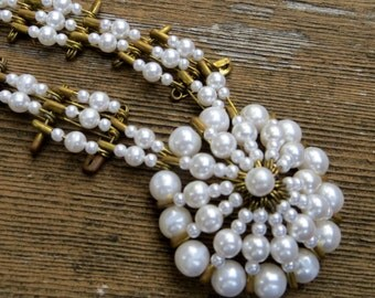 Vintage Brass Safety Pin Necklace Pearl Long Necklace Flower Design