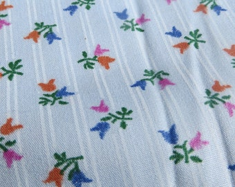 Cotton Fabric Sweet Tulips on Blue Background Cotton Fabric Yardage Quilting Sewing Crafts