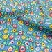 Fun Cotton Fabric One Yard Whimsey Flowers Blue Yellow Red Small Print Sewing Quilting Crafts