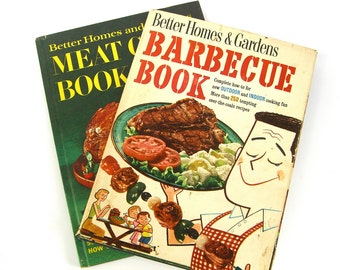 2 Vintage Cookbooks, Better Homes and Gardens Meat Cookbook, Barbecue Book, 1950s 1960s Illustrations, Kitchen Gift, Recipes